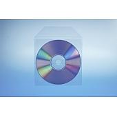 Tasche für 1 Disc mit Klappe - selbstkl. (1 Streifen) - trennahtgeschweißt -120my