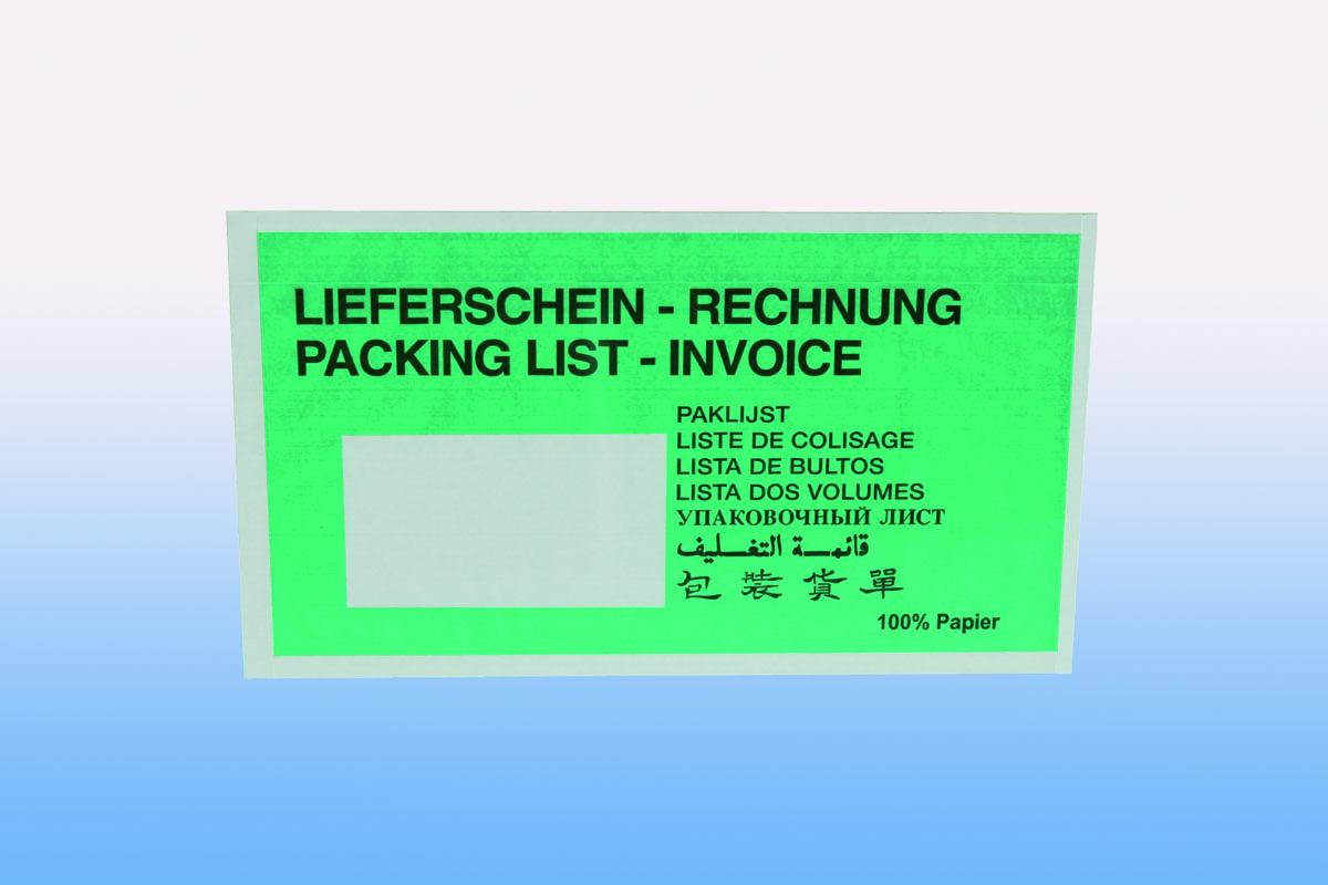 Papierlieferscheintasche grün - DIN-lang