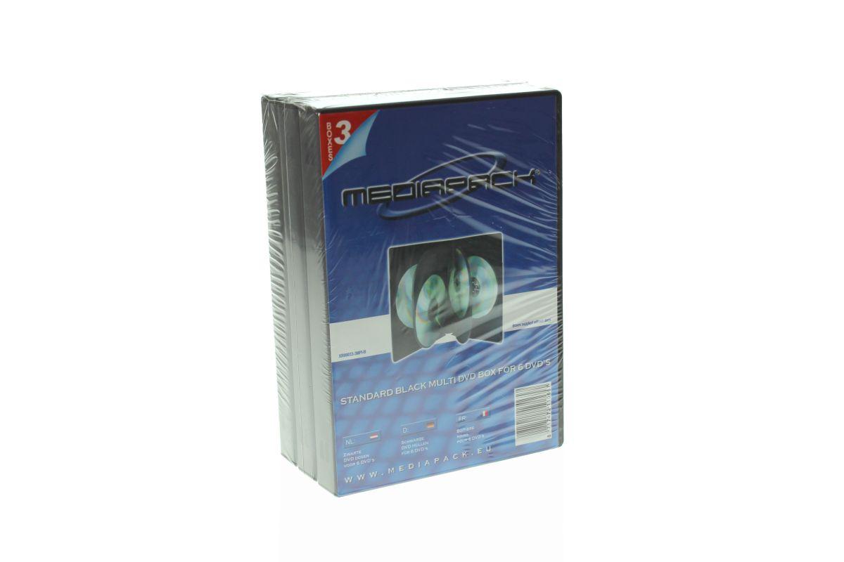 DVD Box 6-fach mit Tray - 21mm - 3er  Pack - schwarz