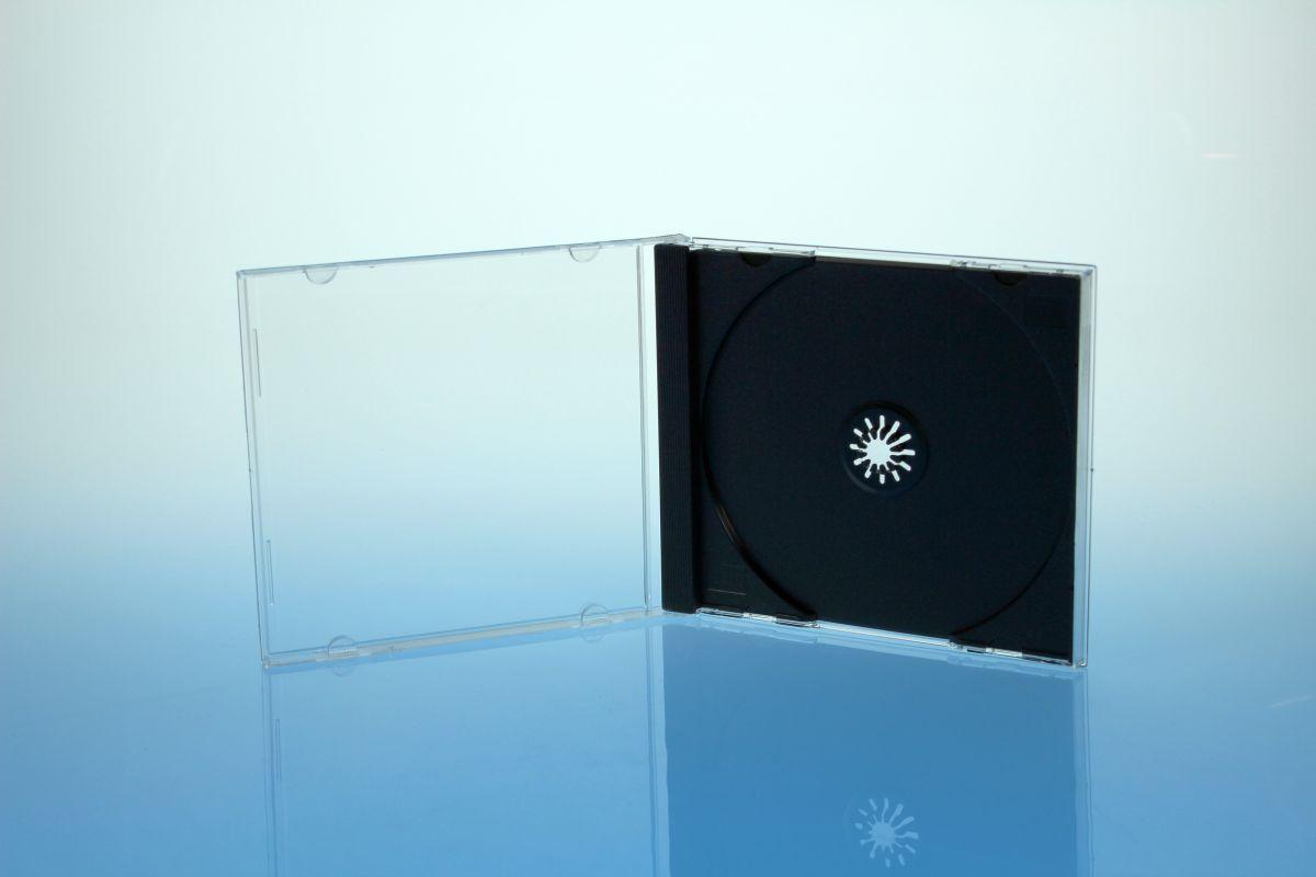 CD Jewelcase für 1 Disc - montiert  mit schwarzem Tray