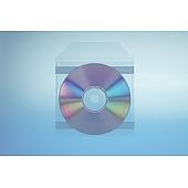 Klarsichttasche für 1 Disc - selbst- klebend (2 Klebestreifen) - mit Klappe