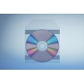 Tasche für 1 Disc mit Klappe - selbstkl. (2 Streifen) - trennahtgeschweißt -120my
