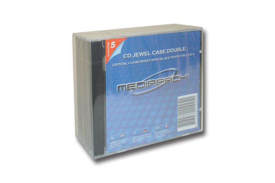 CD Jewelcase 2-fach - 5er Pack - MPI  - mit schwarzem Doppeltray montiert