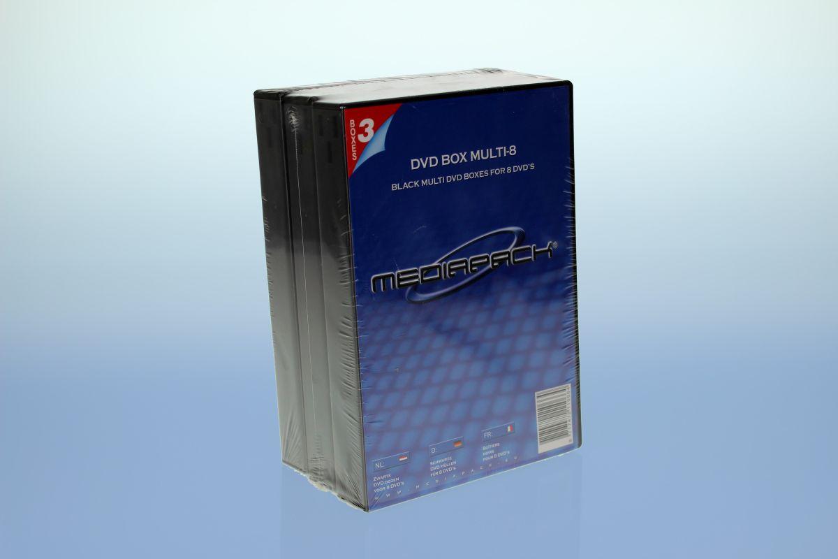 DVD Box 8-fach mit Tray - 26mm - 3er  Pack - schwarz