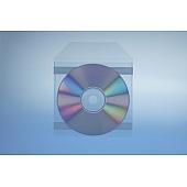 Klarsichttasche für 1 Disc - selbst klebend (2 Klebestreifen) - mit Klappe