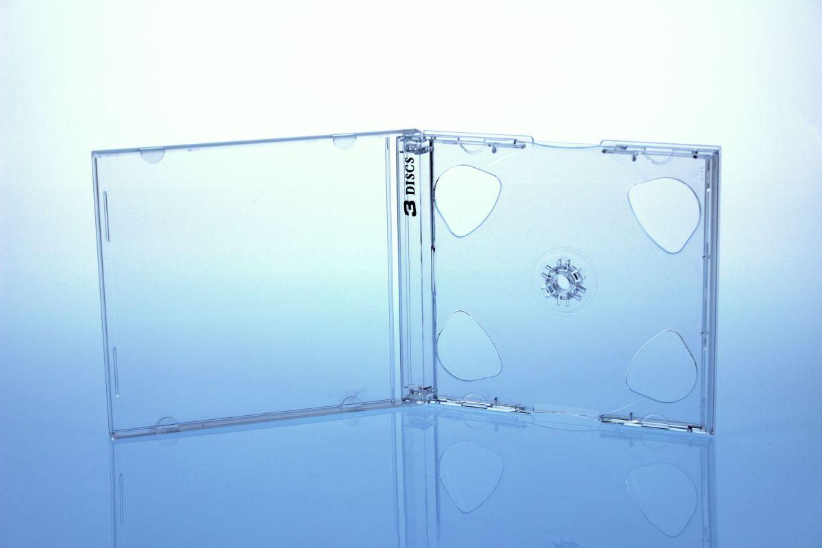 CD Jewelcase für 3 Discs - montiert  mit transparentem Tray