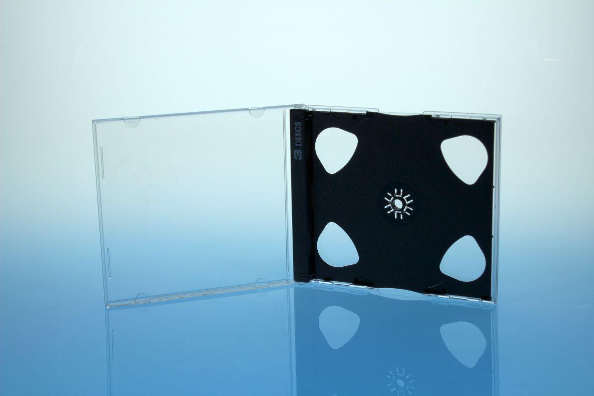 CD Jewelcase für 3 Discs - montiert  mit schwarzem Tray